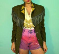 Vintage Olive Green Wool Suede Fringe Blazer / 90s Oversize Jacket / 70s Style Rocker Hippie Coat / Womens Size Medium Large. $60.00, via Etsy. - I LOVE this jacket.