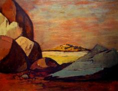 Landscape with Rocks George Russell Drysdale Australia Australian Painters, Australian Artists, Landscaping With Rocks, Natural Forms, Abstract Landscape, Van Gogh, Graphic Art, Sketches, Paintings