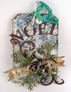 Noel Tag...with paper pine cone.