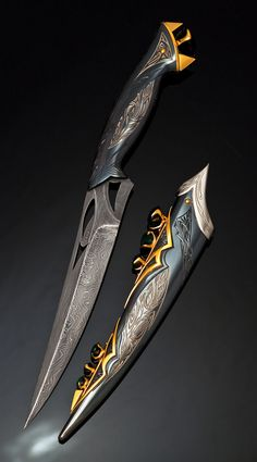 Pretty Knives, Cool Knives, Armor Concept, Weapon Concept Art, Swords And Daggers, Knives And Swords, Knife Aesthetic, Armas Ninja, Cool Swords
