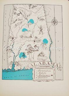 Vintage Alabama Map $21