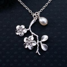 Silver Necklace, Flower and Branch Jewelry, Lustrous Freshwater Pearl, Unique Gift, Sister, Mother, Friend