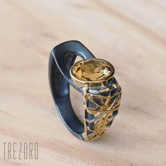 AU$123. Sun and Shade Ring by Juvite. Oxidised Gold Plated Sterling Silver with Citrine.