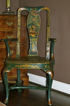 Chippendale style chinoiserie chairs that date back to 1900.