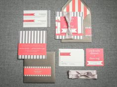Coral Wedding Invitations, Modern Wedding Invitations, Beach Wedding, Salmon and Grey, Preppy Chic design by Julie Hanan Design on #etsy #handmade #beachwedding