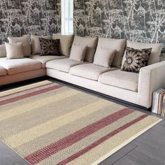 Contrasting Coloured Stipes for a Casual Look, this Fields Red Striped Rug is made with a blend of Wool, Cotton & Viscose yarn. Soft to touch, shiny in appearance & durable Rug. Stripes Design, Red Stripes, Striped Couch, Mustard Rug, Red Rugs, Rugs Online, Colour Schemes, Woven Rug, Rug Making