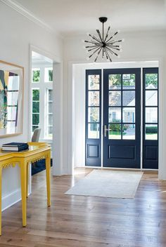Favourite Modern Farmhouse Front Door Entrance Design Ideas - Home/Decor/Diy/Design, Yellow Front Doors, Modern Front Door, Front Door Colors, White Doors, Wall Colors, Hallway Colours, Modern Entry, Paint Colors, Front Door Entrance