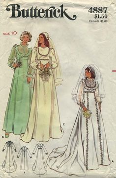Vintage Bridal / Wedding Dress and Bridesmaid Gown Sewing Pattern | Butterick 4887 | Year 197? | Size 10 | Bust 32½ | Waist 25 | Hip 34½