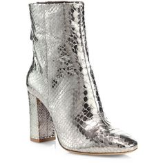 Alexandre Birman Zanny Metallic Python Block-Heel Booties (€565) ❤ liked on Polyvore featuring shoes, boots, ankle booties, apparel & accessories, specchio, round toe ankle boots, round toe booties, python boots, metallic boots and back zipper boots