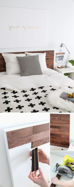 DIY // Ikea Hack Stikwood Headboard More deko ikea Ikea Bed Hack: DIY Wooden Headboard With Stikwood Ikea Bed Hack, Hacks Ikea, Diy Hacks, Ikea Hack Bedroom, Diy Bedroom, Lego Bedroom, Ikea Bedroom White, Ikea Platform Bed Hack, Bedroom Ideas
