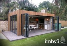 Shedworking, Kitchens pavillion Ran on the lines - That is how woman Leinen styles properly - Koid. Backyard Patio Designs, Backyard Landscaping, Backyard Ideas, Outdoor Rooms, Outdoor Living, Outdoor Kitchens, Garden Cabins, Garden Office, Outdoor Kitchen Design