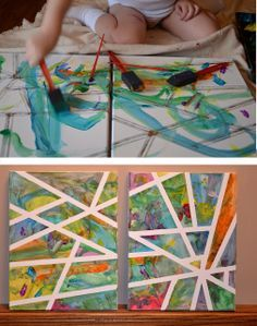 Adhesive Tape Canvas Art. This would be fun to do while babysitting and have a gift when they get back! (Obv clean up the mess first haha)
