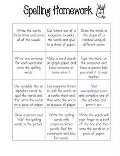 Spelling ideas.  I like this because it gives the students a choice of which they want to do during the week. I would have them choose 4 each week.  Great for differentiation!
