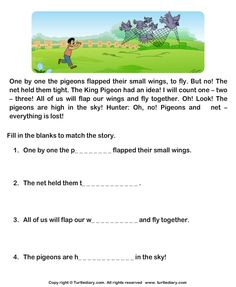 Fill in the Blanks from Comprehension Hunter and Pigeons Worksheet Picture Comprehension, First Grade Reading Comprehension, Reading Comprehension Worksheets, Reading Passages, 1st Grade Reading Worksheets, 2nd Grade Reading, Phonics Books, Phonics Reading, English Writing Skills