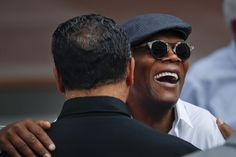 Actor Samuel Jackson, right, greets Rev. Jesse Jackson Sr. as they take their seats for the dedication ceremony of the Smithsonian Museum of African American History and Culture on the National Mall in Washington, Saturday, Sept. 24, 2016. (AP Photo/Pablo Martinez Monsivais)</p>