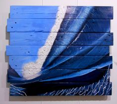 Original pallet art by Sara Bowles Art .com Ocean wave, barrel, tube, surf, surfing, AKAW   Acrylic on recycled pallet wood. Sold