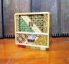 Asian Jewelry Box with Accordion Doors Wood by RetroVintageBazaar, $65.00
