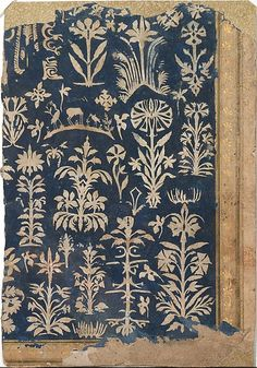 """timur-i-lang: """" Album Page with Cut-Paper Decoration, Shah Jahan Album Mughal India, ca. """"The decoration on this page is cut from tan paper and laid down on a blue paper background. It depicts. Textile Patterns, Color Patterns, Print Patterns, Textiles, Paper Cutting, Cut Paper, Surface Design, Art Chinois, Art Japonais"""