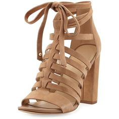 872dbe5731b Sam Edelman Yarina Caged Suede Sandal (£68) ❤ liked on Polyvore featuring  shoes