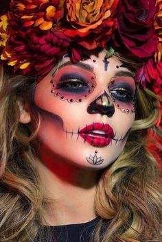 Sugar skull makeup is not something that everyone will be able to replicate. But once you master the art, there will be no turning back! In a good sense. * You can find more details by visiting the image link. #MakeupTips