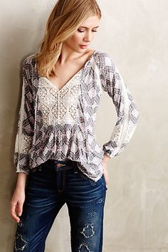 Diamondstitch Peasant Top by Porridge Neutral from Anthropologie