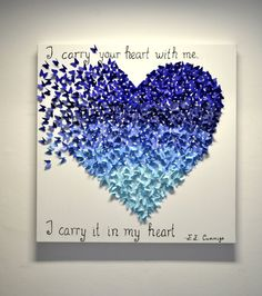 Dark Blue 3D Ombre Butterfly Heart - Customized Butterfly Wall Art , OOAK Wedding Gift, Anniversary Gift, Gift for Her, Statement Art