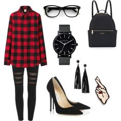 Plaid Chic by kaycie-marie-surrell on Polyvore featuring polyvore, fashion, style, Uniqlo, Jimmy Choo, Henri Bendel, I Still Love You NYC, The Horse and Monki