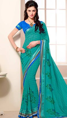 Get Latest Traditional Ethnic Turquoise Georgette Printed Saree Online   #Price INR- 2047 Link-  http://alturl.com/e2p6k