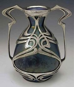 Art Nouveau vase with pewter
