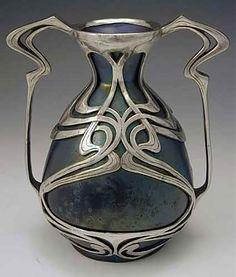 Art Nouveau vase with pewter