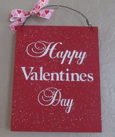 Happy Valentines Day Sign - Wooden Sign. $8.00, via Etsy.