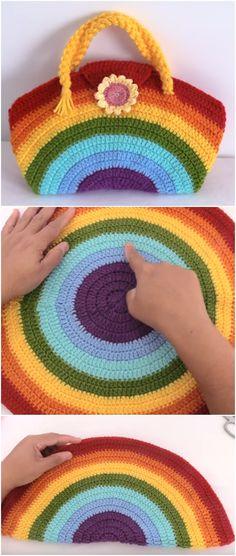 Crochet Rainbow Colored Bag With Flower - Idées Crochet - crochet - Diy Gilet Crochet, Bag Crochet, Crochet Diy, Crochet Amigurumi, Crochet Purses, Crochet Crafts, Crochet Projects, Crochet Ideas, Tshirt Garn
