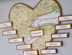 World map themed seating plan detail.