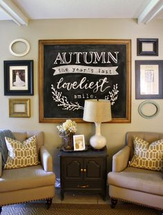clarendon lane: Fabulous Chalkboard Art Tutorial + printable! #Fall #ChalkboardArt