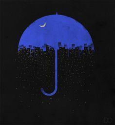 Illusion art blue sky umbrella and moon created with a black cityscape