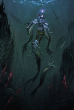 Dark Water Mermaids by Pumasordos Dark Mermaid, Siren Mermaid, Mermaid Art, Mermaid Tails, Art Vampire, Vampire Knight, Mythical Creatures Art, Mythological Creatures, Mermaid Drawings