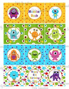 Printable Monsters Cupcake Toppers by PartyInnovations09 on Etsy, $5.00