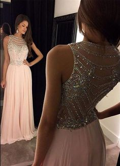 fashion pink chiffon prom dress with beading, elegant bateau party dress with illusion back