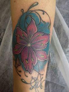 Hibiscus tattoo full color