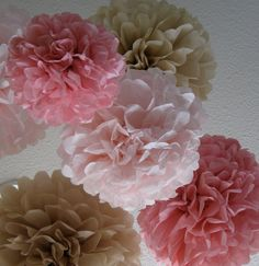 20 Tissue Paper Pom Poms - Your Color Choice - Sale - Vinatge Wedding Decoration - Shabby Chic Decor on Etsy, $60.00