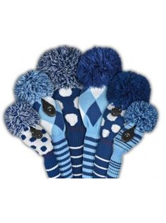 Just for Golf Knit Headcovers- Multi Diamond Driver Blue, Navy/Lt Blue/White Driver Headcover