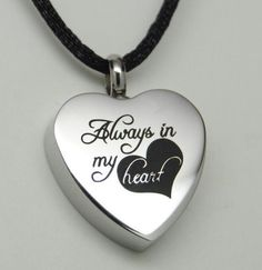 ALWAYS IN MY HEART CREMATION JEWELRY SILVER HEART URN NECKLACE MEMORIAL KEEPSAKE
