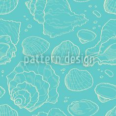 Sea Pattern - Seashell sketch design on blue background. Vektor Muster, Vector Pattern, Pattern Design, Sketch Design, Blue Backgrounds, Vector Design, Surface Design, Pure Products, Fabric