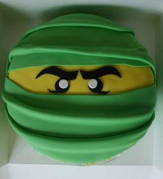 Baked By Design: Green Lego Ninja Head Cake