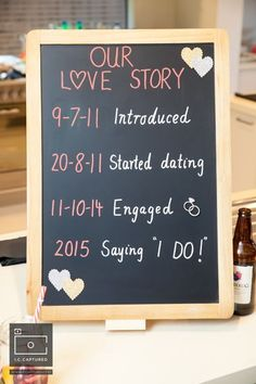 Chic DIY Engagement Chalkboard Simple details such as blackboards with a timeline of your love story