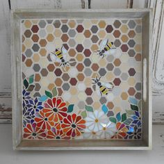 Bees/Honeycombs and Flowers Mosaic Tray. One-Off Unique