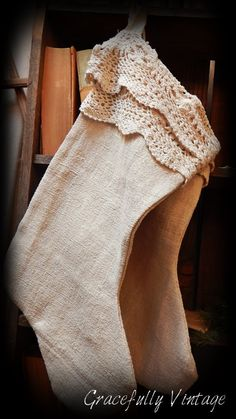 Texture of linen combine with vintage crocheted lace is incredible!