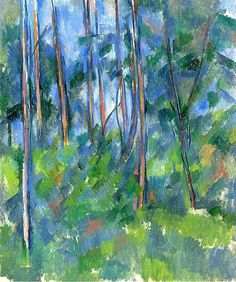 """dappledwithshadow: """" In the Woods Paul Cézanne 1897-1898 Private collection Painting - oil on canvas Height: 54.93 cm (21.63 in.), Width: 46.04 cm (18.13 in.) """""""