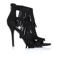 Uptown Girl Fringe Heels ($28) ❤ liked on Polyvore featuring shoes, pumps, black, black cage shoes, open-toe pumps, open toe shoes, black fringe shoes and caged shoes
