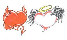 Tattoo idea - Devil & Angel heart tats - The devil on one wrist and the angel on the other? Description from pinterest.com. I searched for this on bing.com/images